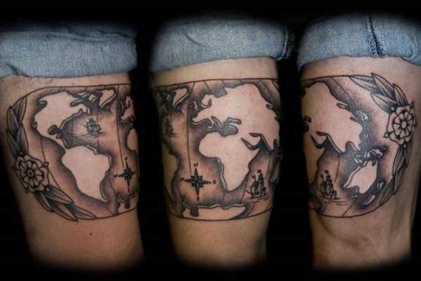 20 terrific world map tattoo design ideas world map tattoo design gumiabroncs Images