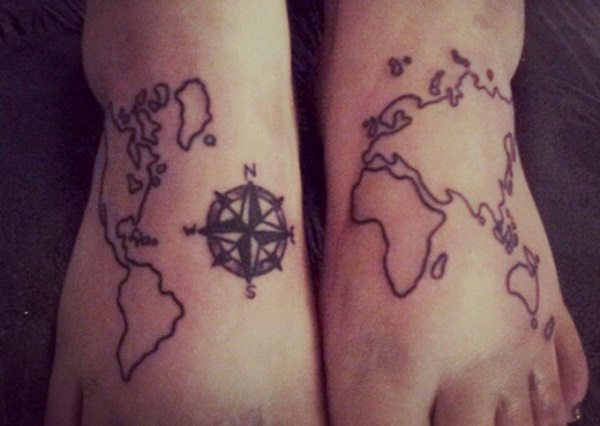 20 terrific world map tattoo design ideas world map tattoo design gumiabroncs Image collections