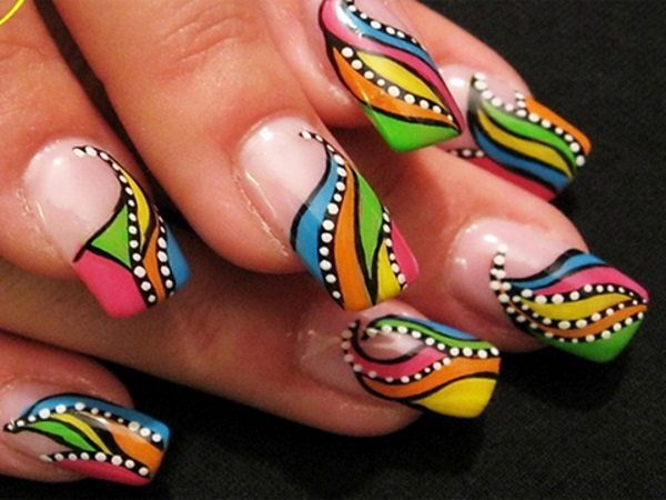 14 bright and colorful nail art designs to try colorful nail art prinsesfo Choice Image