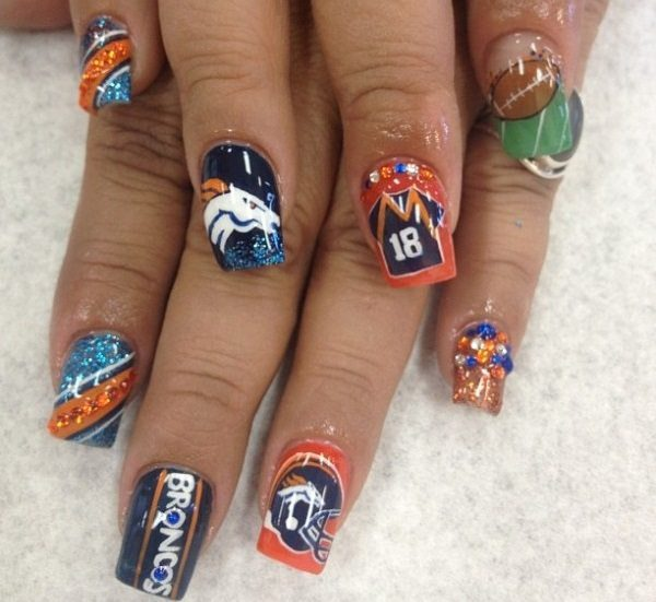denver broncos nail art - 20 Denver Broncos Nail Art Ideas For Super Bowl 50