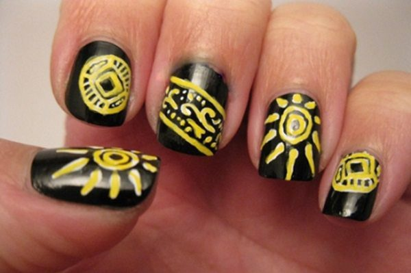 sunshine nail art - 10 Cheerful Sunshine Nail Art Designs