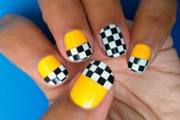 13 Fast and Furious Checkered Flag Nails