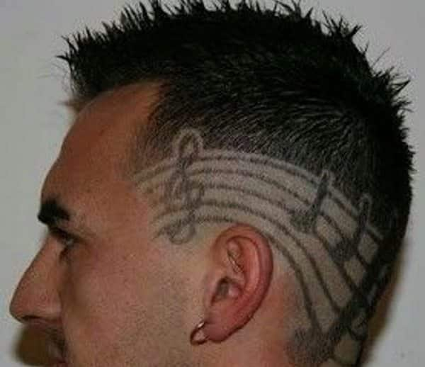 Shaved music notes