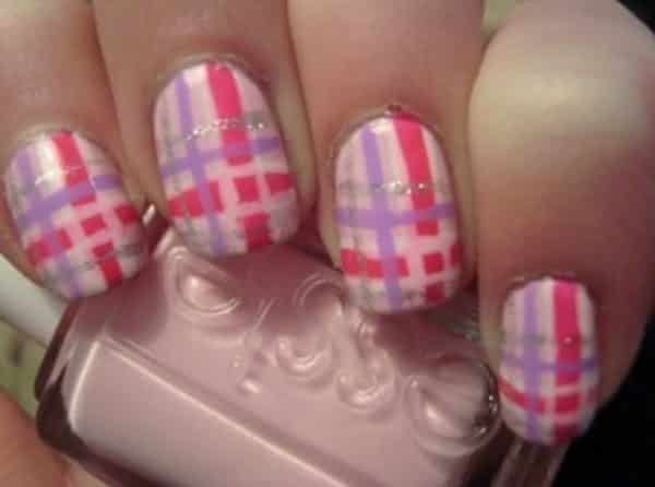 plaid nail art designs