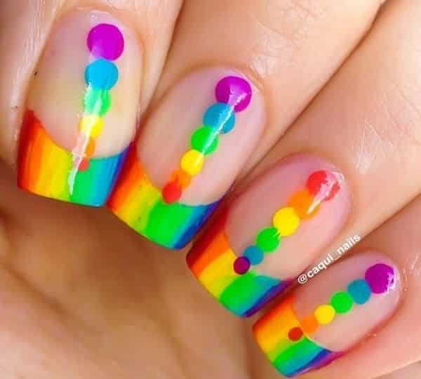 13 Colorful And Creative Rainbow Nail Designs