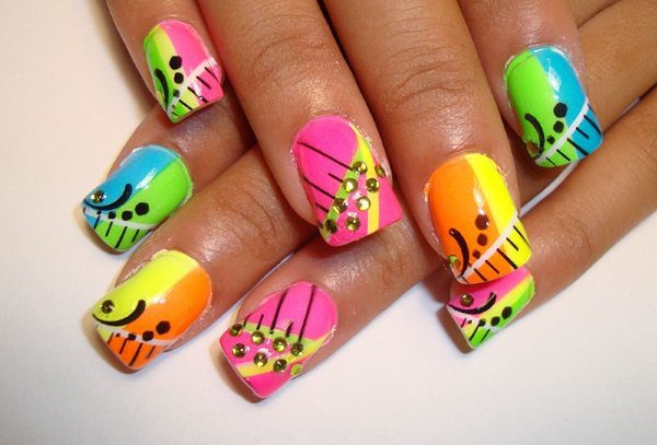 colorful nail art  15 Insane Colorful Nail Art Designs to Try colorful nail art 5