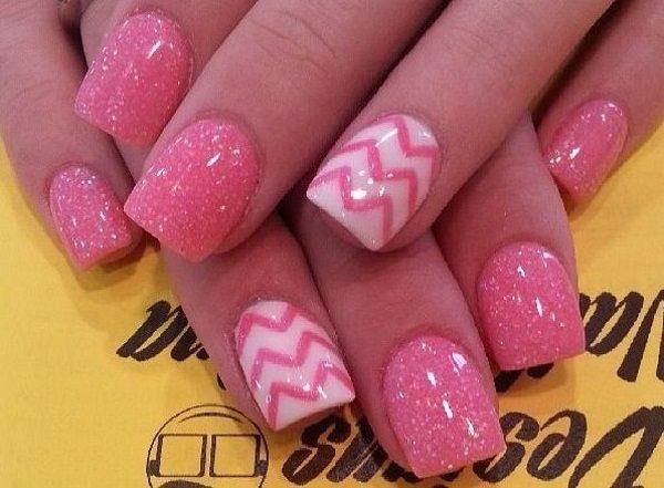 pink nail art - 15 Rockin' Pink Nail Art Designs