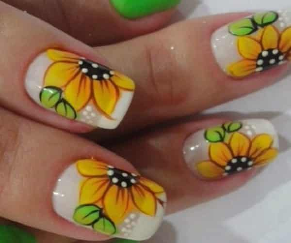 sunflower nail designs - 15 Sunflower Nail Designs For Summer And Beyond