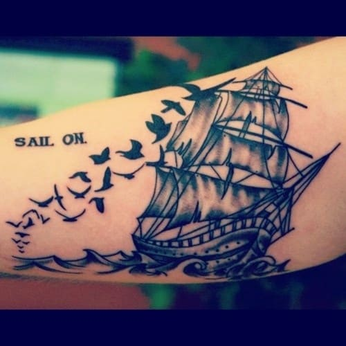 birds-and-quote-boat-tattoo