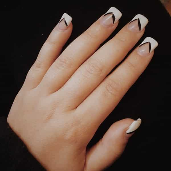 black-and-white-square-nails