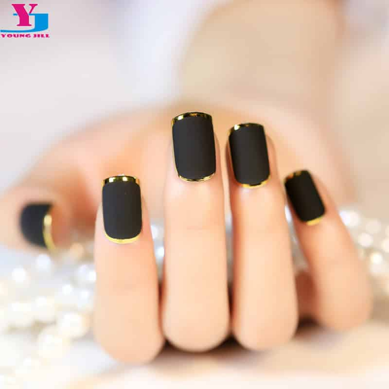 2016 Hot Selling 24Pcs French Short Full Cover Bordeaux Metal Frosted False Nail Tips Black Patch Matte Fake Nails
