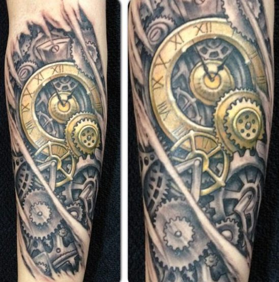 golden-clock-tattoo