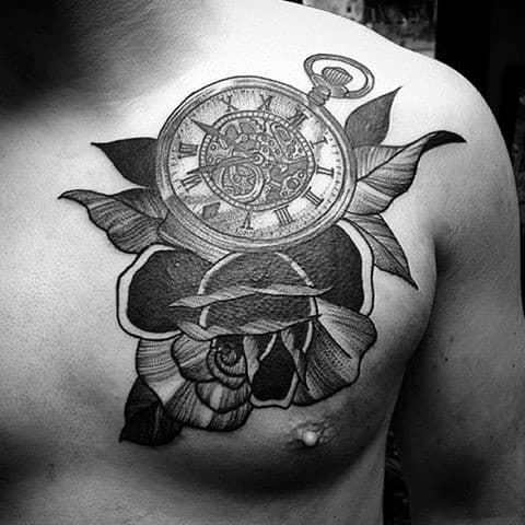 pocket-watch-black-and-white