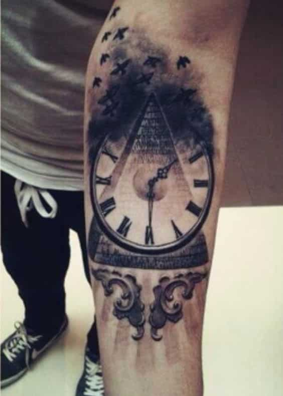 pyramid-bat-clock-tattoo
