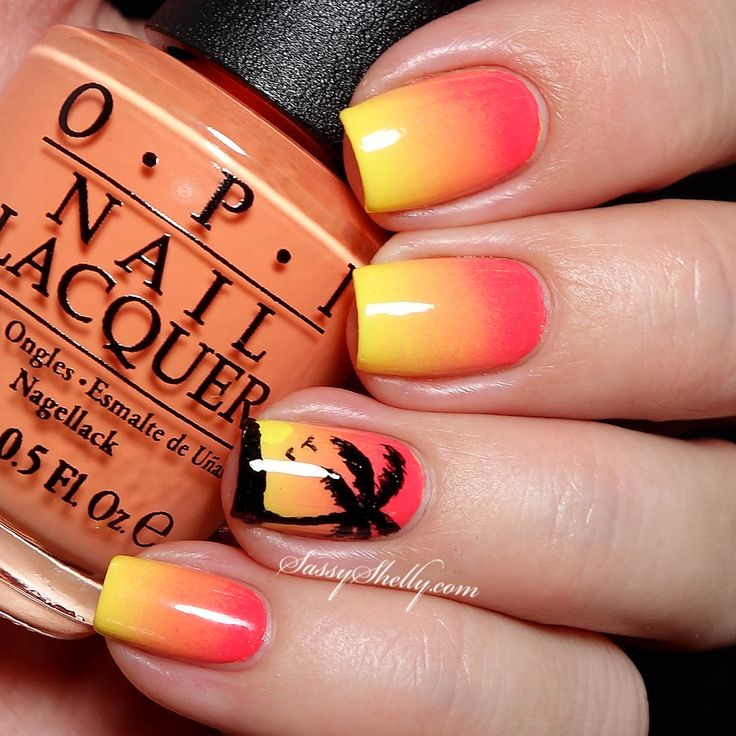 sunset-nails - 20 Tropical Nail Designs For 2017