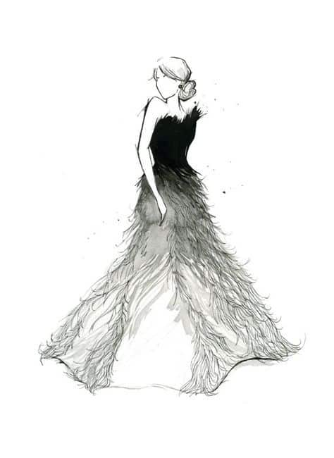 black-and-white-feather-dress