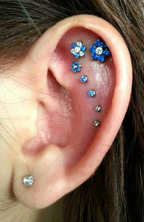 14 Stylish Orbital Piercings Blue Flowers