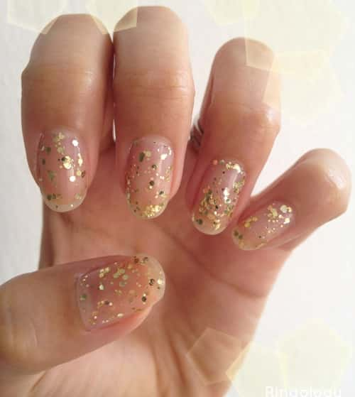 clear-nails-with-yellow-glitter
