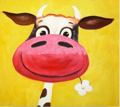 oil-painting-cow