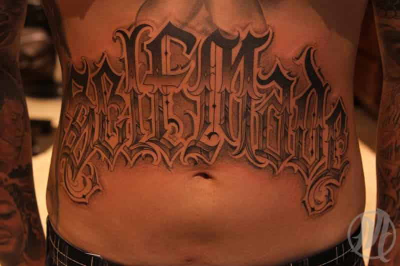Self Made Stomach Tattoo