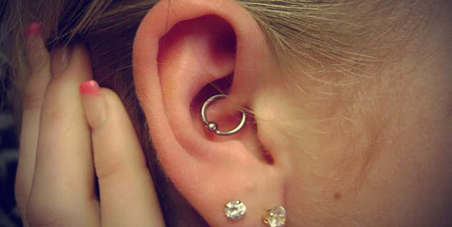 Daith Piercing With Doulbe Ring Below