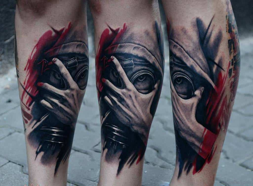 88279c83a A Very Well Shaded, Black And Red Gas Mask Leg Tattoo