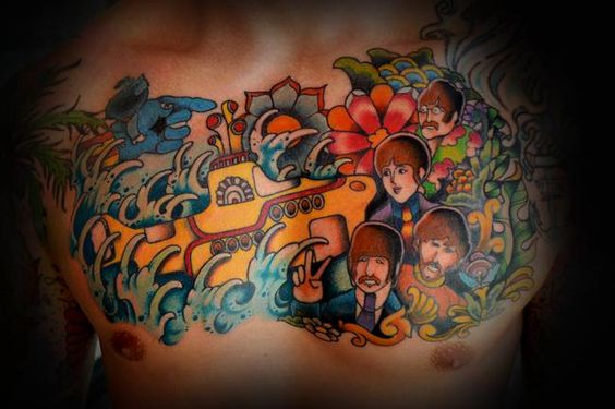 2f89c9dcf An Entire Chest Piece, Dedicated To The Beatles And Their Yellow Submarine