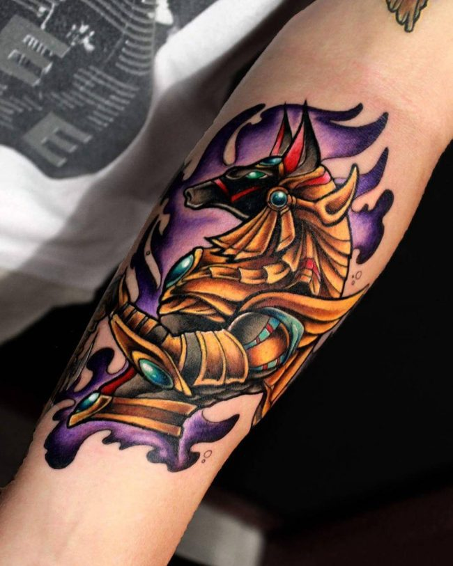 a419fdca4 A Neat Purple And Gold Anubis Forearm Design