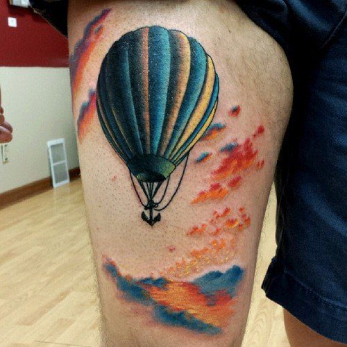 f2a2524f8 A Very Simple, Yet Also Very Colorful, Hot Air Balloon Tattoo Design
