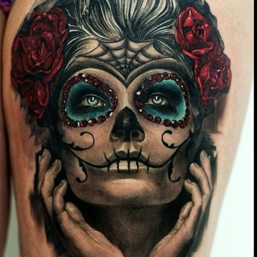 Bloodcurling day of the dead tattoo