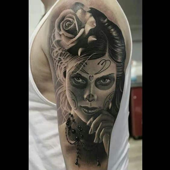 Can't hide from me day of the dead tattoo