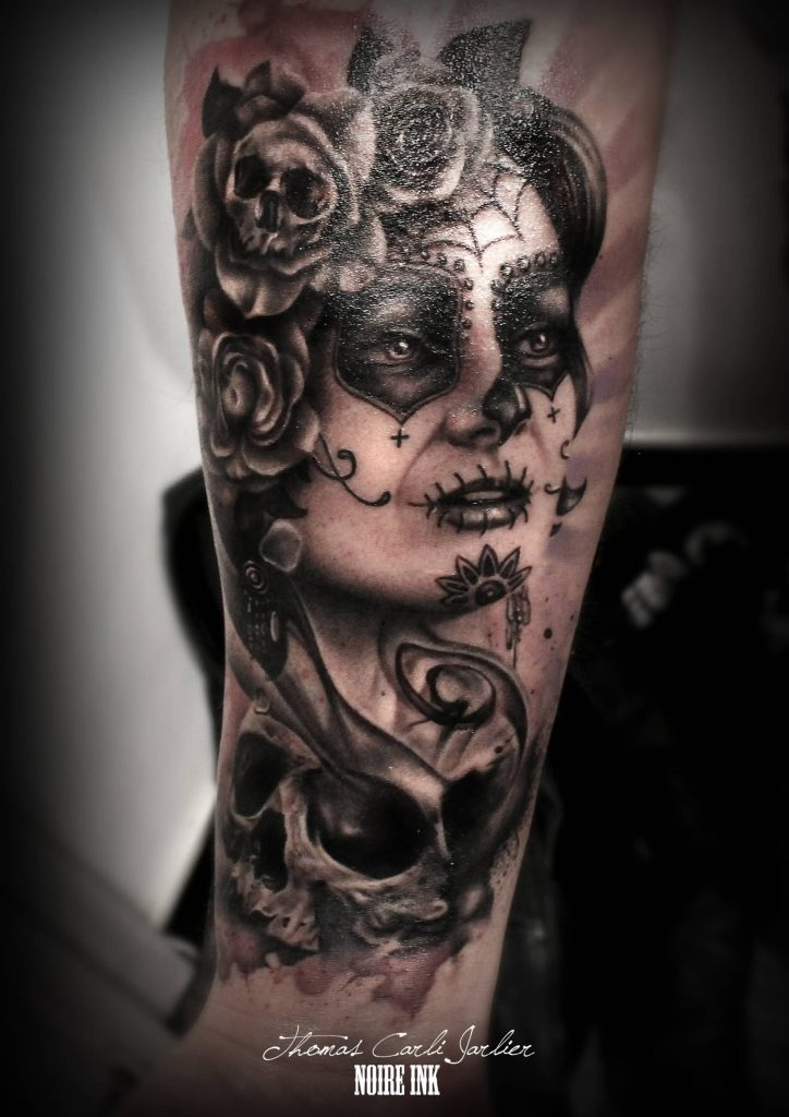 Catrina with skull rose