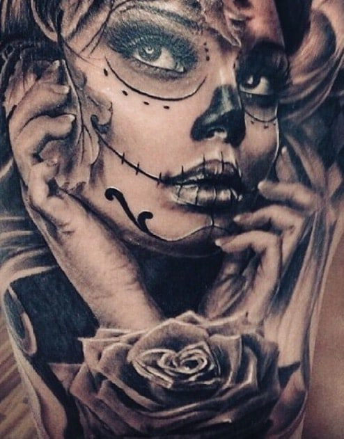 Chicano Chicana Estilo Los Muertos days of the dead tattoo