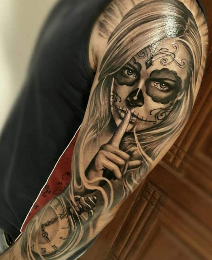 Day of the dead full sleeve tattoo