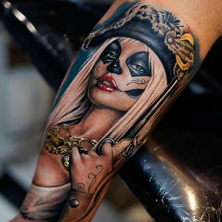 Gangsta Santa muerte girl day of the dead tattoo