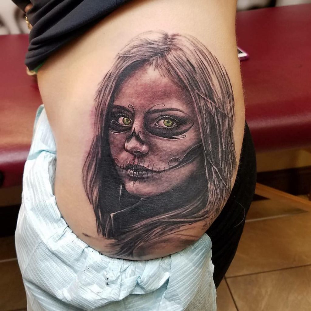 Green Eyed Girl Day of the Dead Tattoo