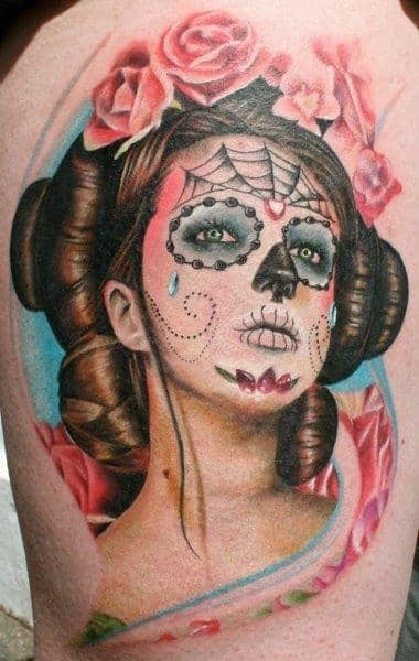 Japanese Princess day of the dead tattoo