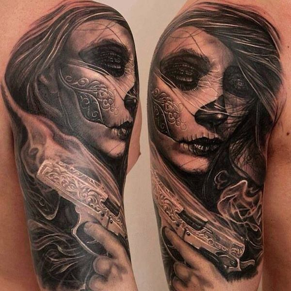 Silent killer day of the dead tattoo
