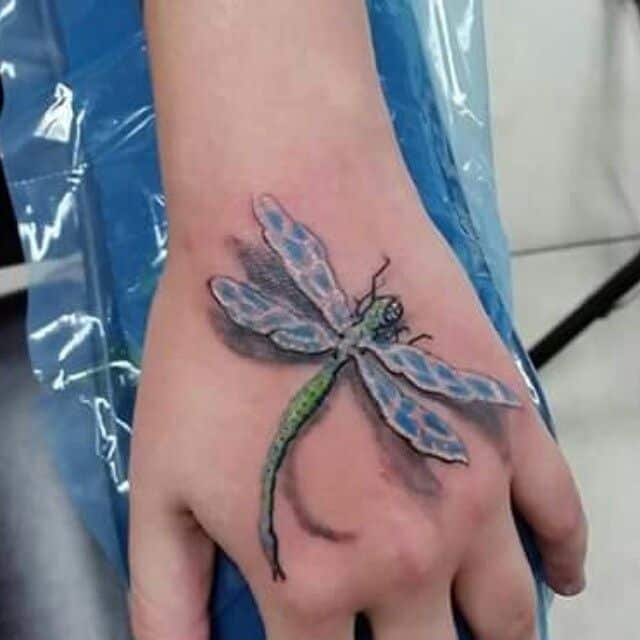 3D Dragonfly hand tattoos for women