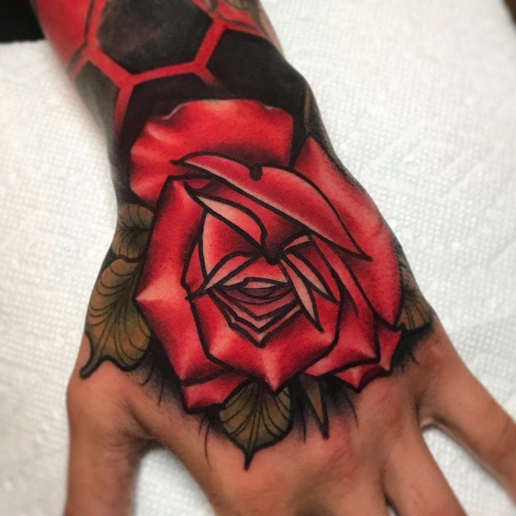 Beautiful Rose hand tattoos for women