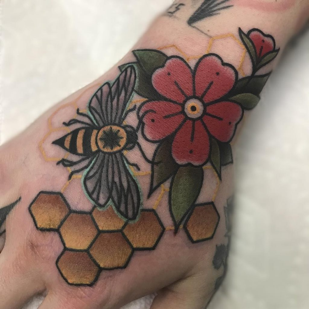 Bee Hand tattoos for women