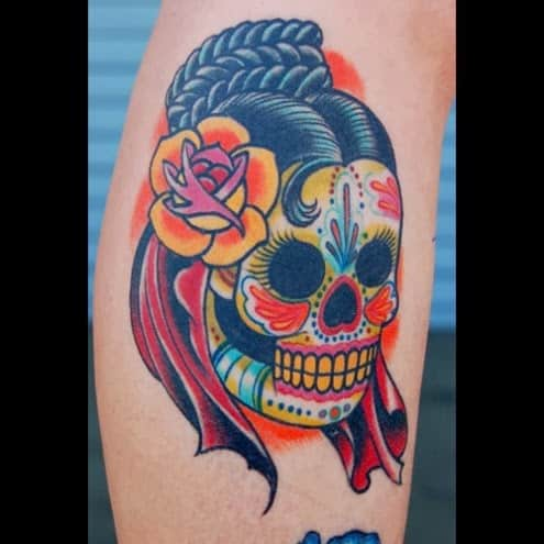 Calavera girl version day of the dead tattoo