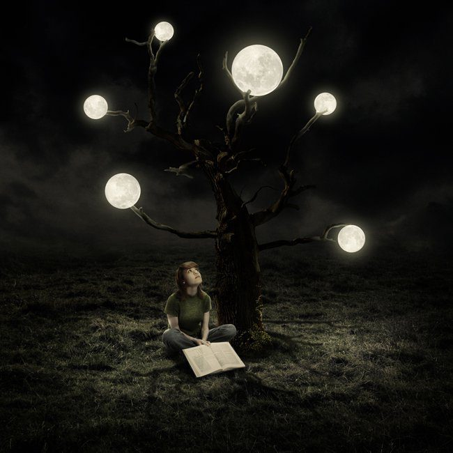 Create a Surreal Artwork of a Tree with Moons