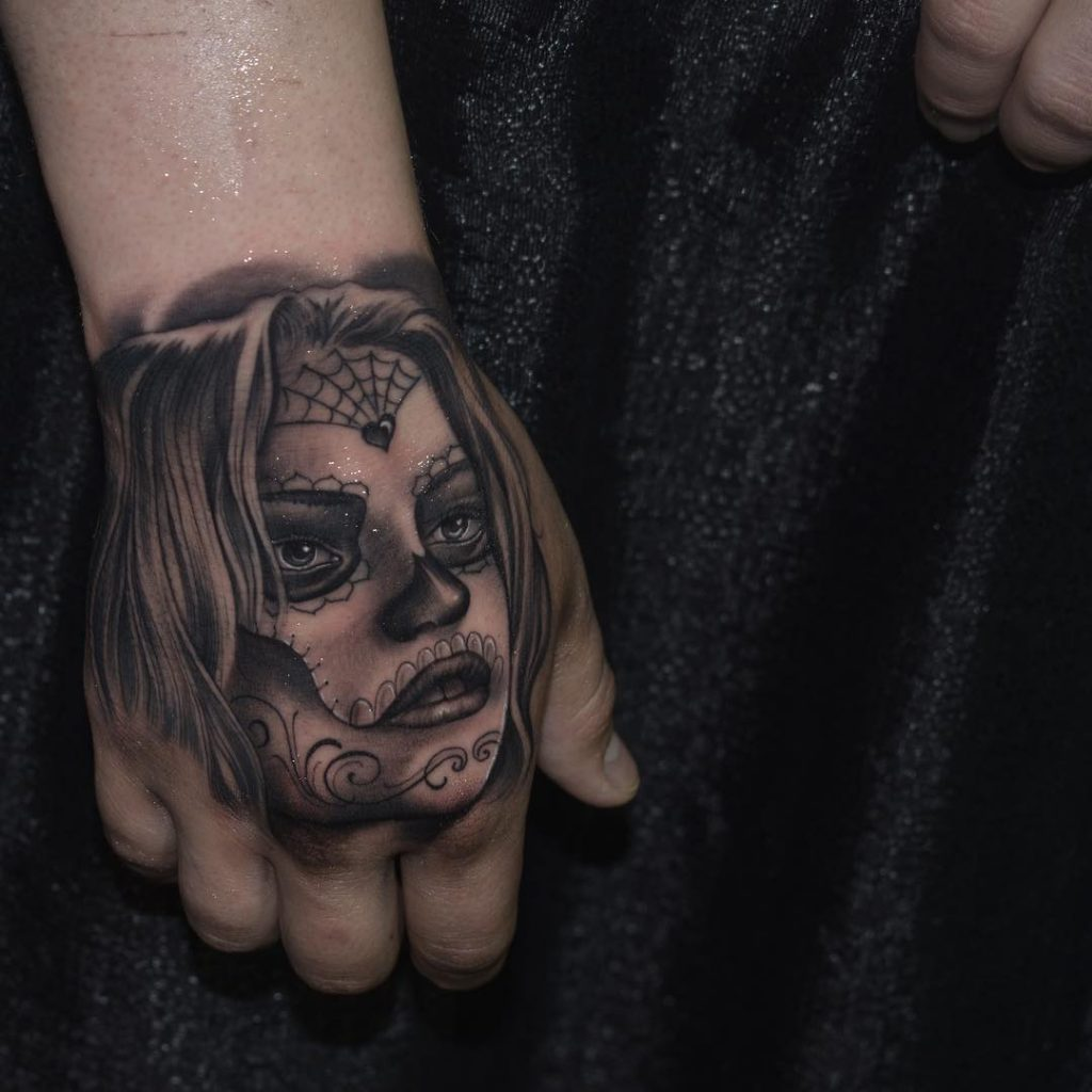 Days of the Dead Hand tattoos for women
