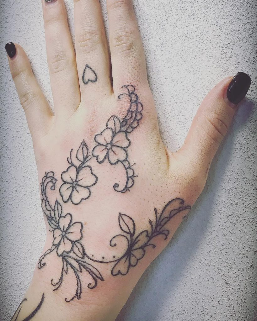 Floral Hand tattoos for women