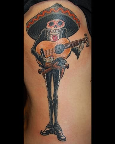 Mariachi with Sumbrero day of the dead tattoo