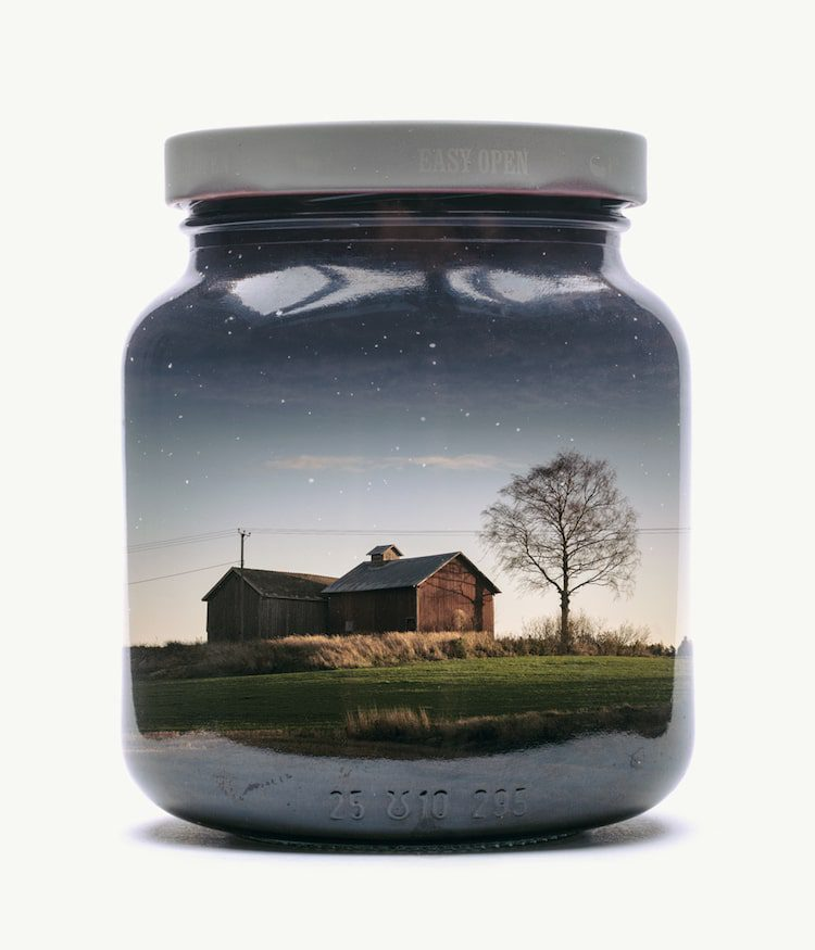 Nostalgic Landscapes Captured in Jars Using an In-Camera Double Exposure Technique