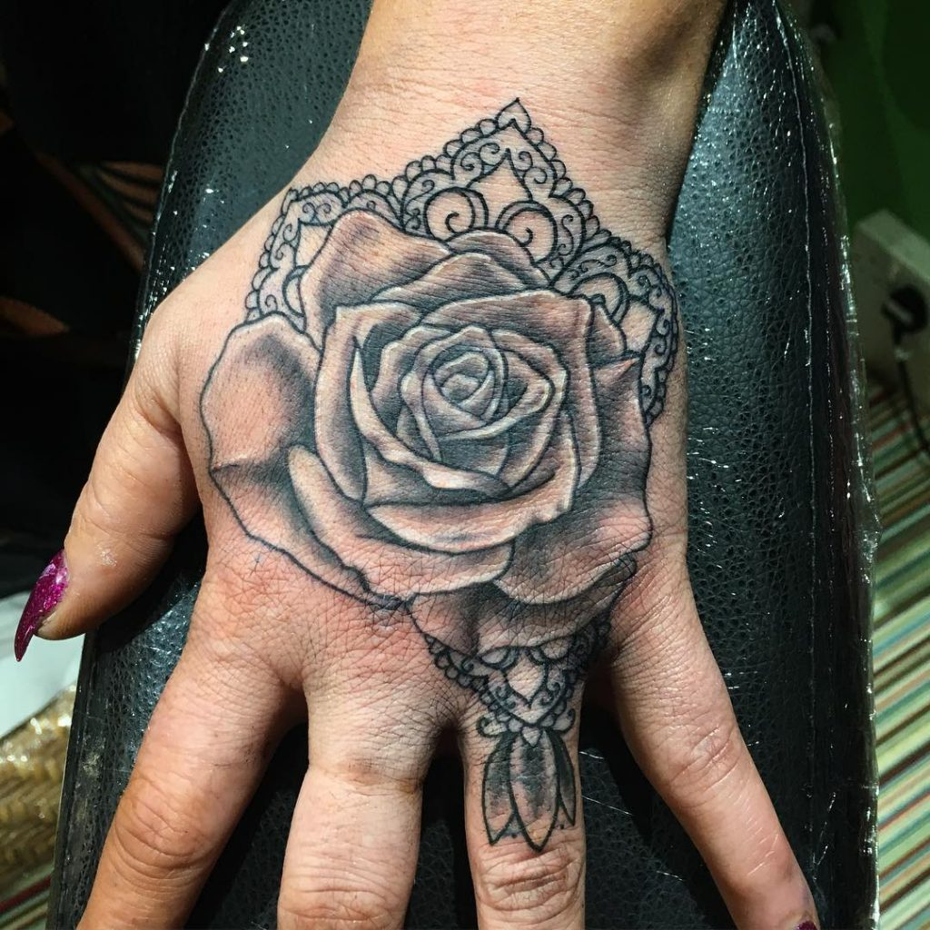 Roses and Lace hand tattoo for women
