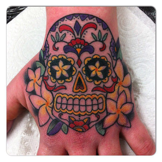 Sugar Skull Hand days of the dead tattoo