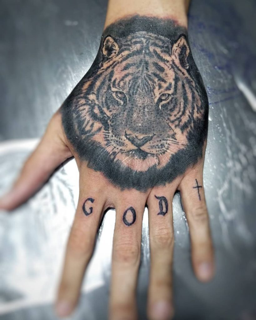Tiger Hand tattoos for women